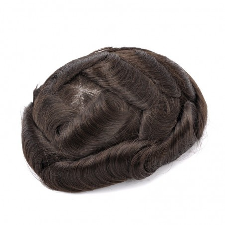 Simois Hair System for Men   Full Lace in Center with 1'' Thin Skin Around and 1/2'' Lace in the Front   Hollywood Style